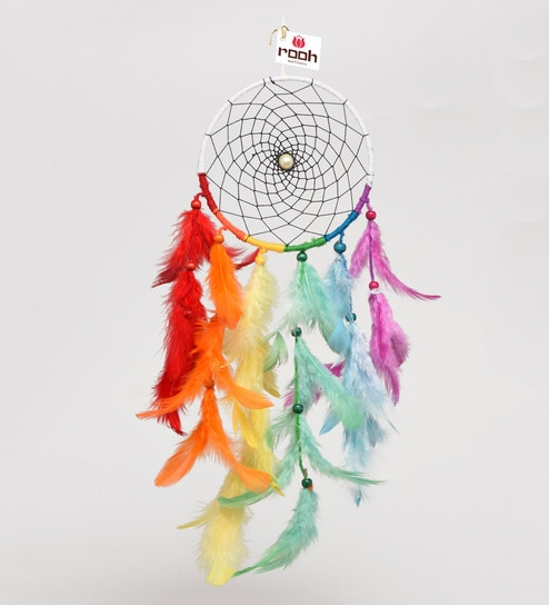 Buy Multicolour Wool Feathers Rainbow Waterfall Dream Catcher By Extraordinary Dream Catcher Pic