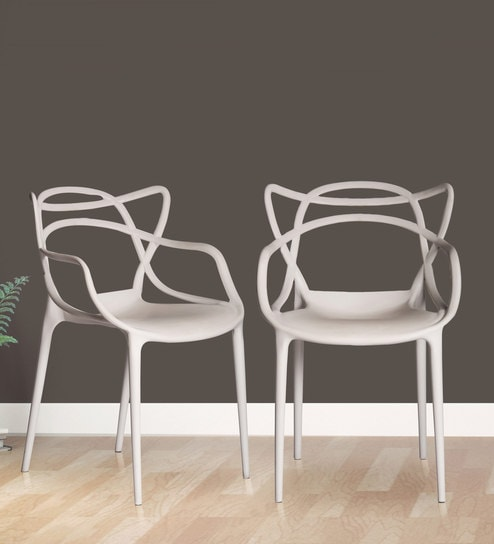 Charmant Andrew Multipurpose Abstract Design Chair (Set Of 2) In White Colour By  Parin