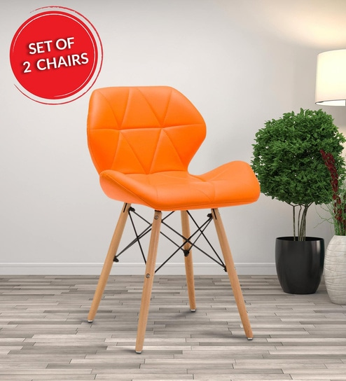 Multipurpose Leatherette Dining Chair With Wooden Legs In Orangeset Of 2 By Workspace Interio