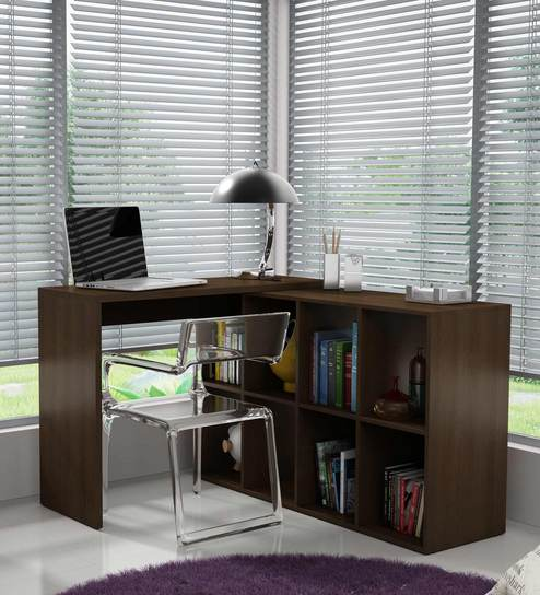 Mura Study Work Desk With Book Shelf In Finish By Mintwud