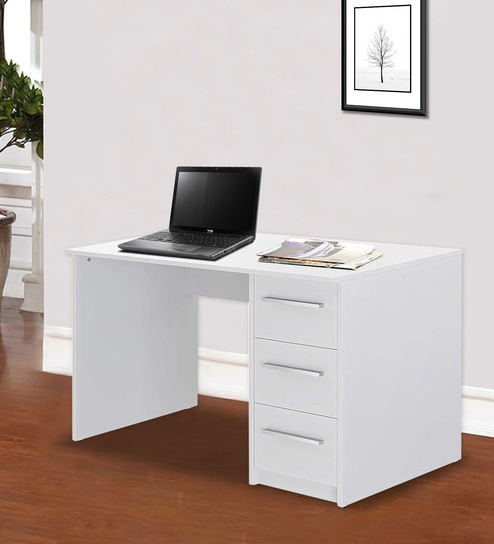 Buy Muriel Office Desk Cum Study Table In Super White Finish By