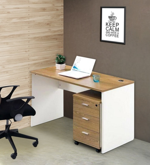 Muriel Office Desk With Drawers In Beech and White Finish By Lakdi