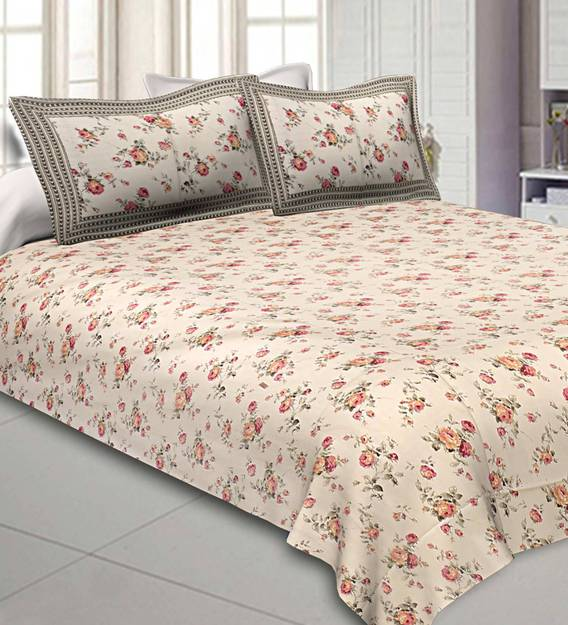 Cotton 300tc Double Bedsheet With 2, What Size Is A Double Bed Cover