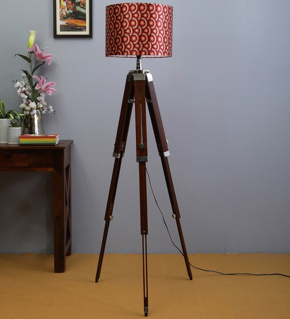 Buy Multicolour Fabric Shade Tripod Floor Lamp With Brown Base By Beverly Studio Online Modern And Contemporary Floor Lamps Floor Lamps Lamps Lighting Pepperfry Product