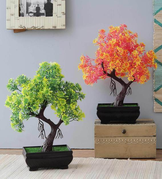 Buy Multicolor Plastic Y Shape Bonsai Artificial Tree with Brown Pot, Set  of 2 by Foliyaj Online - Artificial Plants - Artificial Plants - Home Decor  - Pepperfry Product