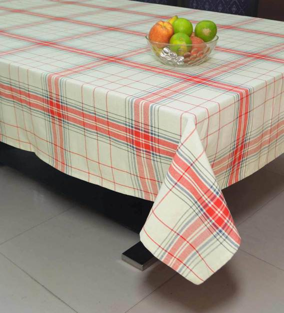 Buy Woven Plaid Check Red Cotton 89x63 Inch Table Cloth By R Home Online Table Cloths Table Cloths Furnishings Pepperfry Product