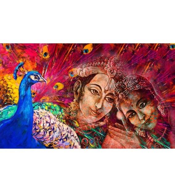 multicolour non woven paper 5x9 feet radha krishna wallpaper by zara multicolour non woven paper 5x9 tjdyzm