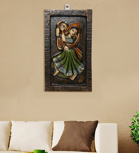 Buy Multicolour Wood Stone Tribal Musician Wall Mural By Unravel India Online People Places Wall Murals Wall Art Home Decor Pepperfry Product