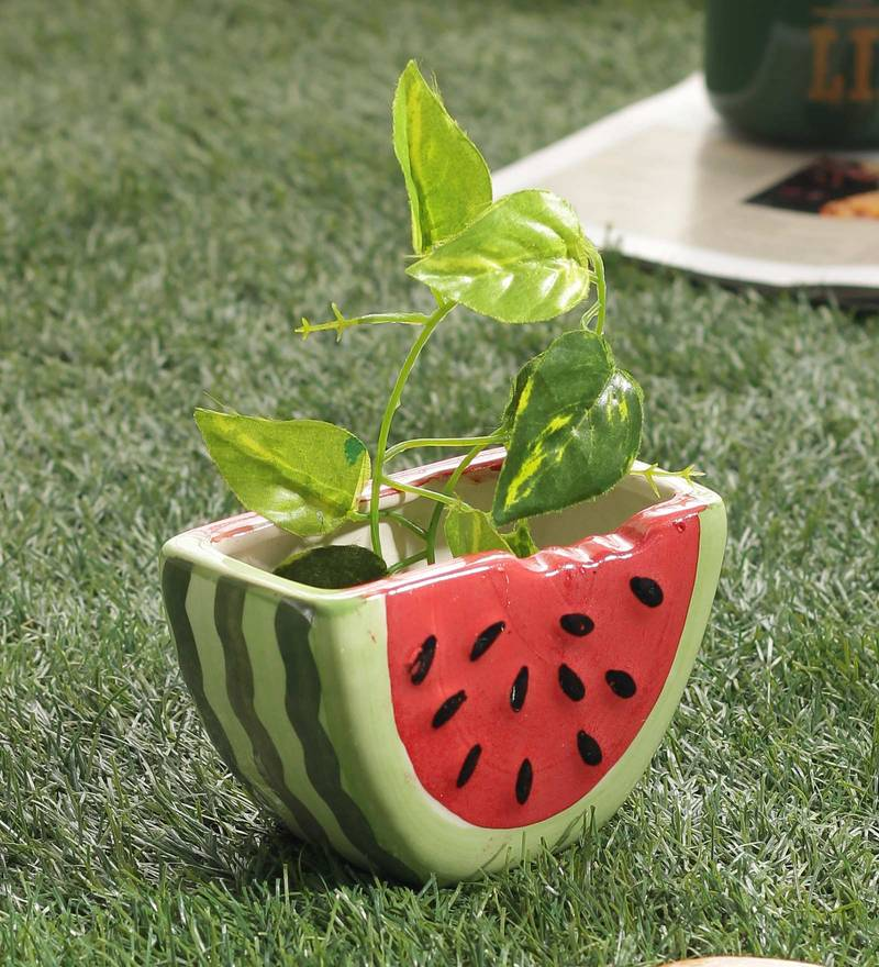 Buy Multicolor Ceramic Watermelon Shaped Decorative Planter Pot By ...