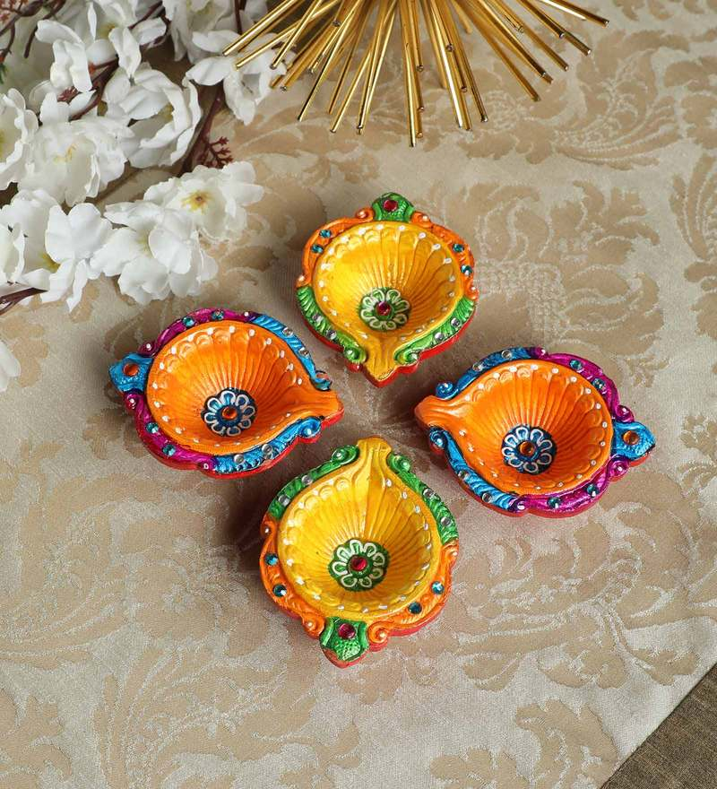 Multicolor Terracotta Diyas By Manomay Kreations Set Of 4