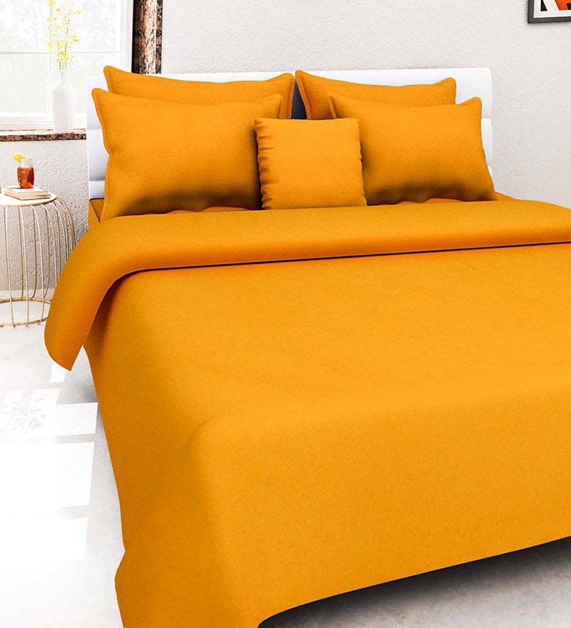 Orange 100% Cotton Queen Size Bed Cover - Set of 5 by Soumya