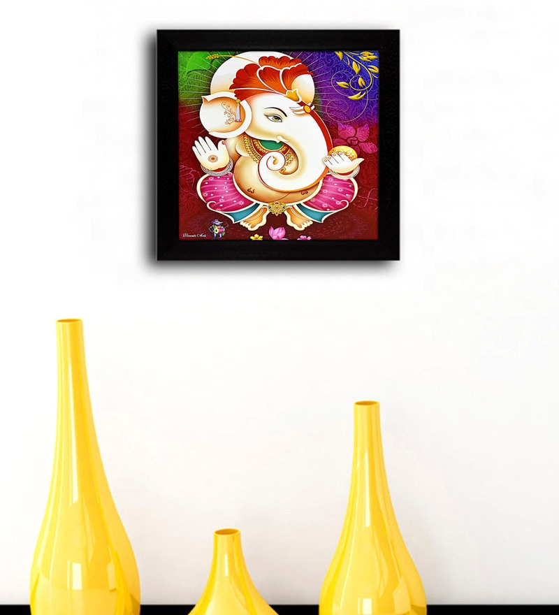 Multicolour 11.5x1x11.5 Inch Lucky Ganesha Framed Wall Art by Gallery99