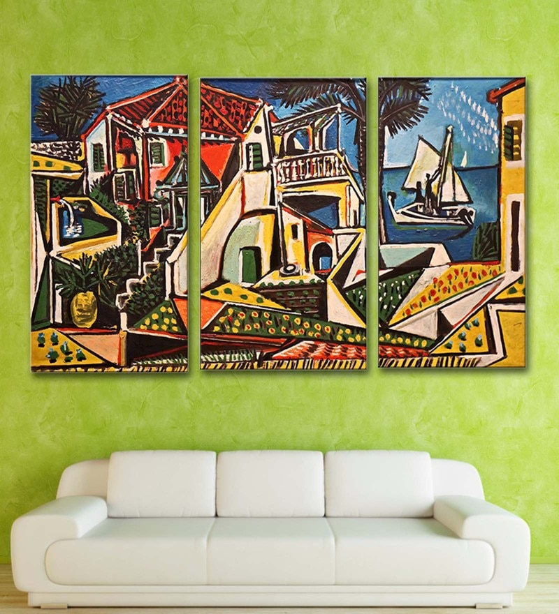 Multicolour 16 x 0.5 x 24 Inch Canvas Pablo Picasso Mediterranean Landscape Art Panels-Set of 2 by Tallenge