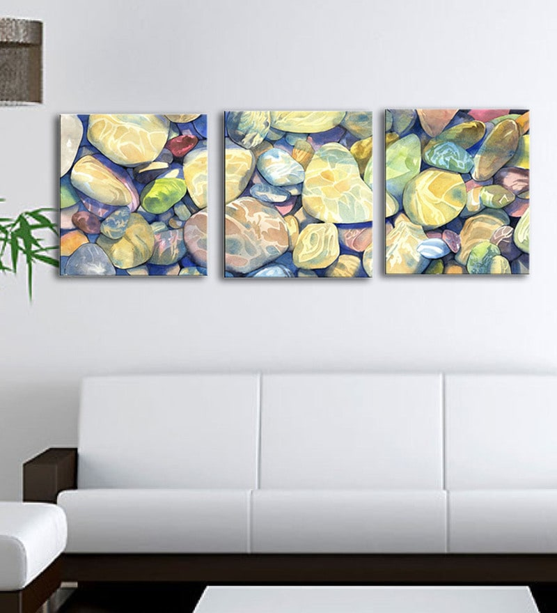 Multicolour 24 x 0.5 x 21 Inch Canvas Contemporary Rocks Under Water Art Panels-Set of 3 by Tallenge
