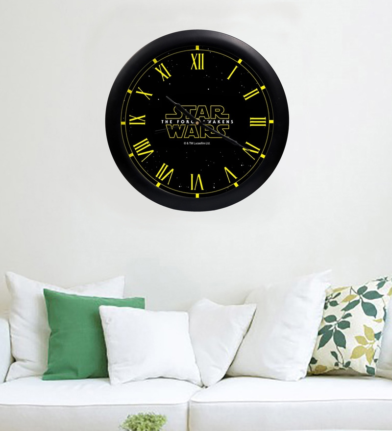 Multicolour Acrylic & Glass 10 x 2 x 10 Inch Star Wars Digital Printed Wall Clock by Orka