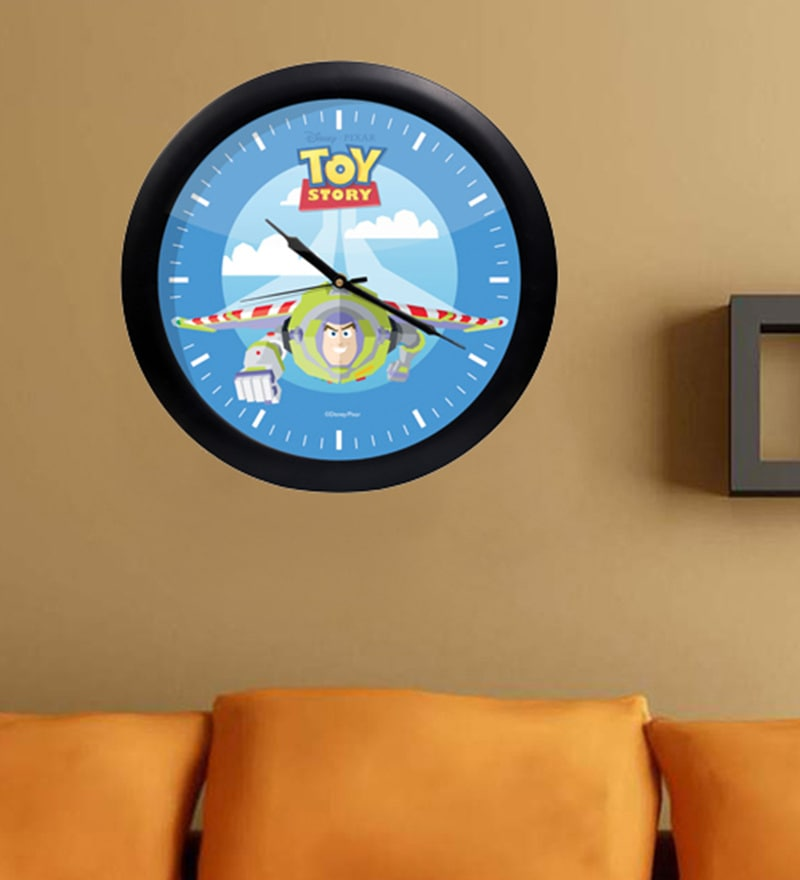 Multicolour Acrylic & Glass 10 x 2 x 10 Inch Toy Story's Digital Printed Wall Clock by Orka