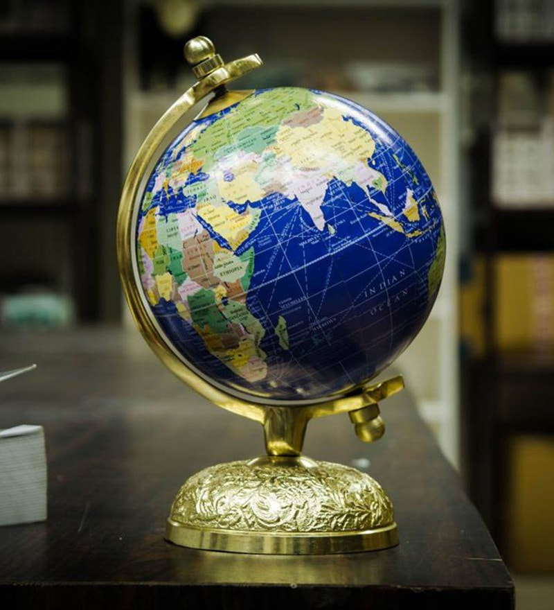 Multicolour Acrylic And Metal Victorian Elegant And Stunning World Globe With Golden Globe By Casa Decor