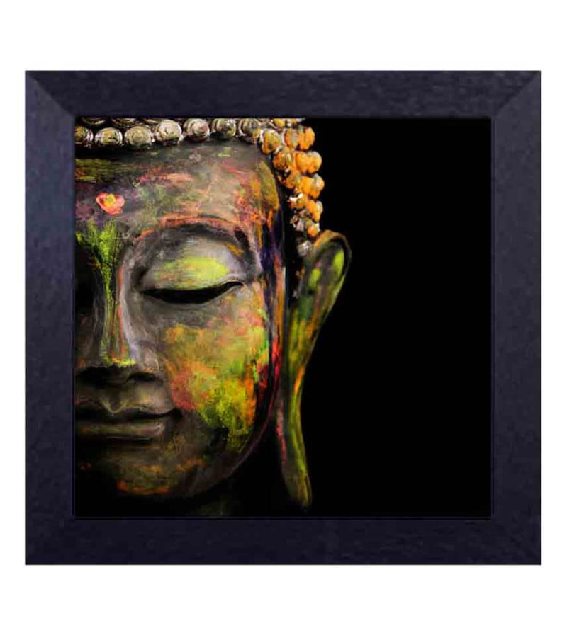 Multicolour Canvas Cloth Gautam Buddha in Rustic Colours Digital Art Print by Decor Design
