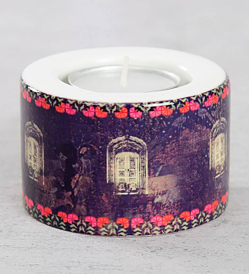 Buy multicolour ceramic cosmic courtesan tea light holder by india click to zoom inout aloadofball Image collections