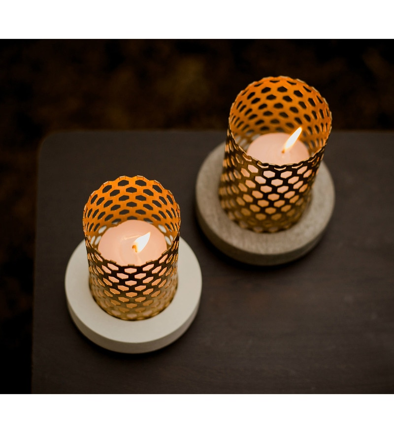 Multicolour Concrete & Brass Tower Candle Holder by Conkreate - Set of 2