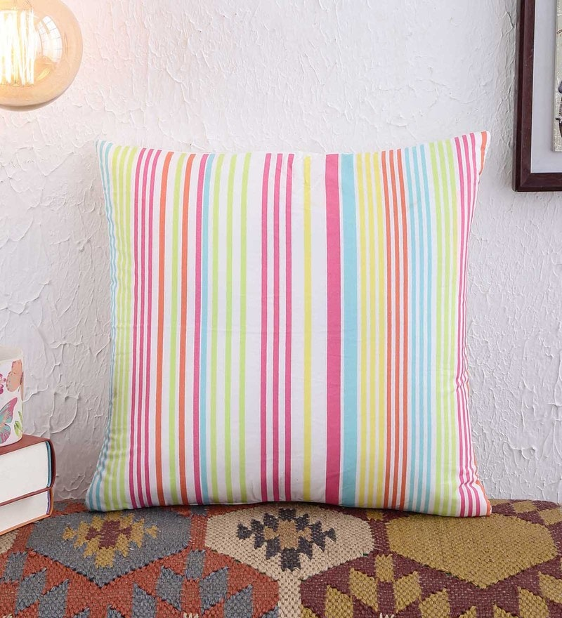 Multicolour Cotton 16 x 16 Inch Cushion Cover by Creative Homez