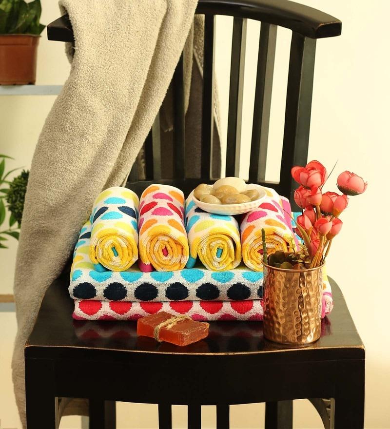 Multicolour Cotton 28 x 58 Inch Towel - Set of 6 by Turkish Bath