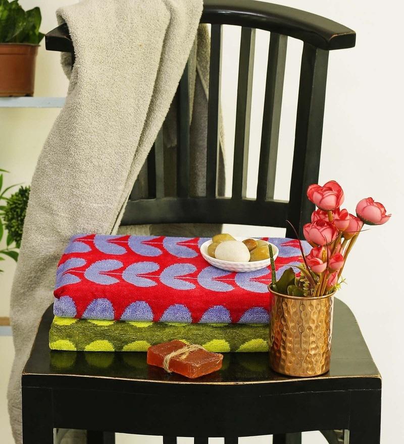 Multicolour Cotton 30 x 58 Inch Towel - Set of 2 by Turkish Bath