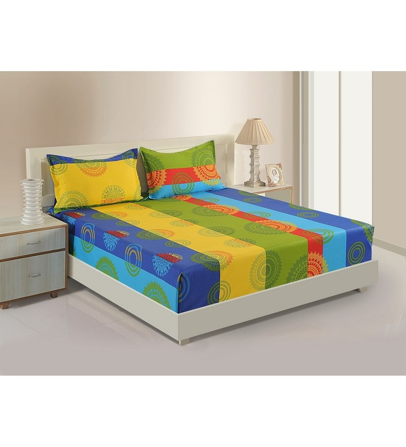 Multicolour Cotton Satin Fitted Bedsheet - Set of 3 by Swayam