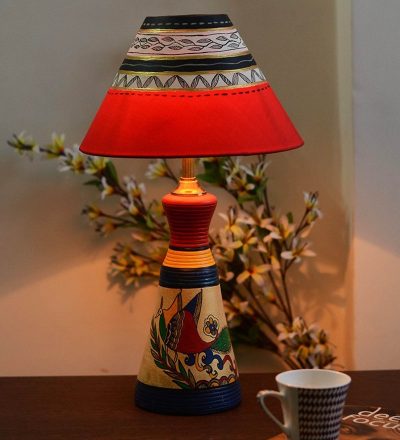 Multicolour Fabric Table Lamp by Unravel India