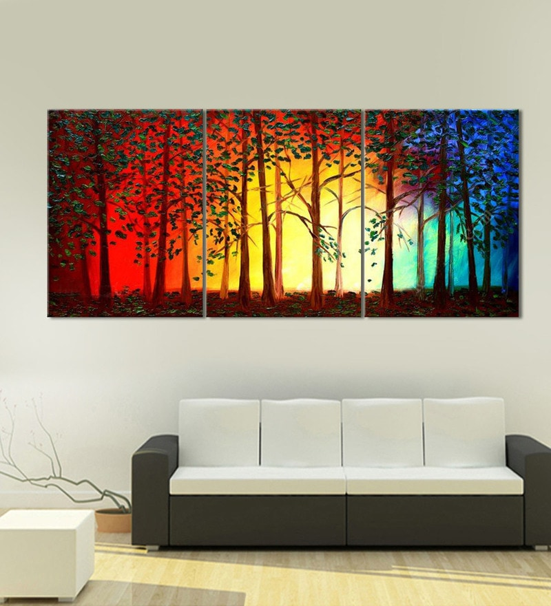 Buy Multicolour Framed Handmade Tree Acrylic Painting On Canvas Modern Abstract Wall Art By 999store Online Floral Art Panels Art Panels Home Decor Pepperfry Product