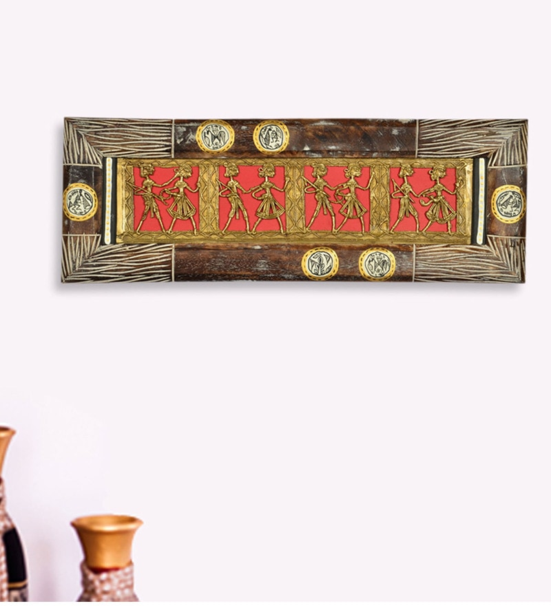 Multicolour Mango Wood & MDF Dhokra Work & Warli Handpainted Horizontal Wall Hanging by ExclusiveLane