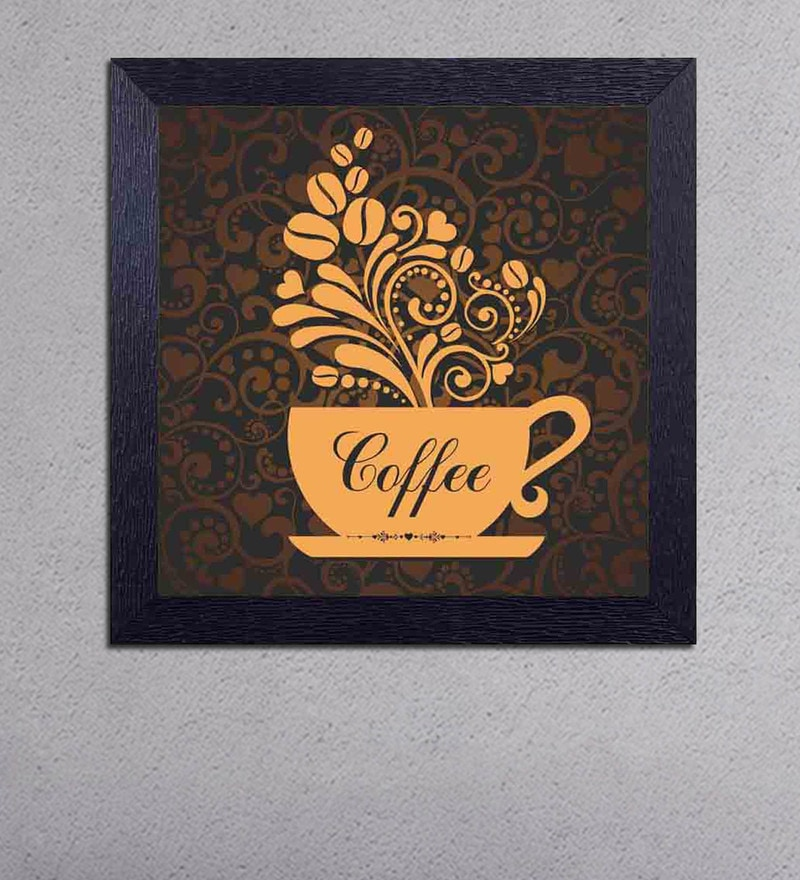 Multicolour Matt Paper Coffee with Beans & Flowers Poster by Decor Design