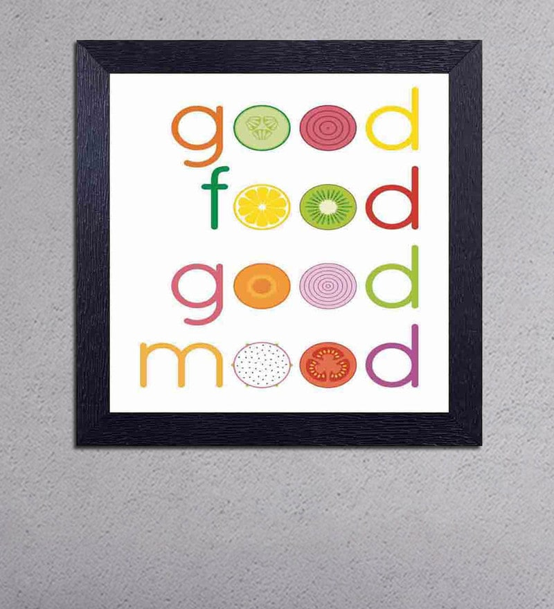 Multicolour Matt Paper Good Food Good Mood Poster by Decor Design