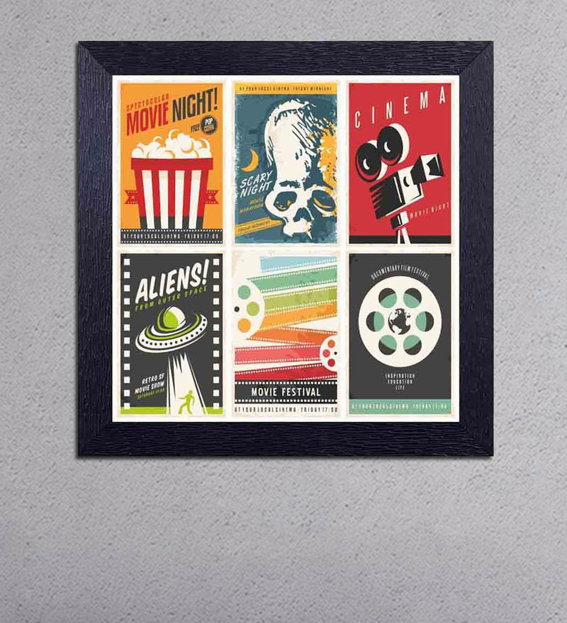 Multicolour Matt Paper Movie Night , Cinema & Aliens Poster by Decor Design