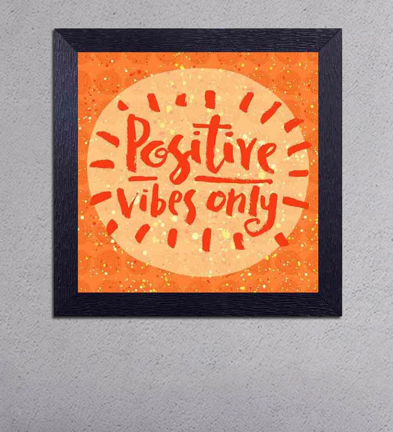 Multicolour Matt Paper Positive Vibes Only Poster by Decor Design
