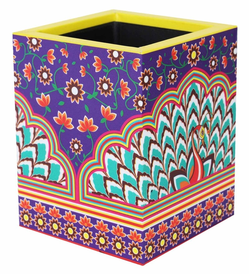Multicolour MDF Peacock Gate Square Pen Stand by Mad(e) in India