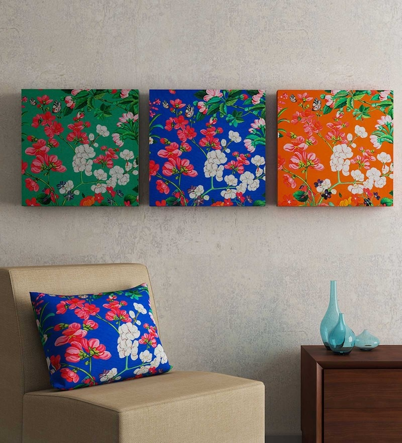 Multicolour MDF Wood Floral Framed Wall Art Sej by Nisha Gupta - Set of 3