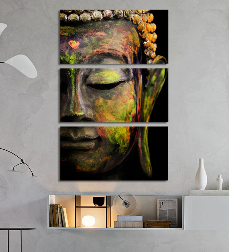 Multicolour Metal Buddha Art Panels by Craftter - Set of 3