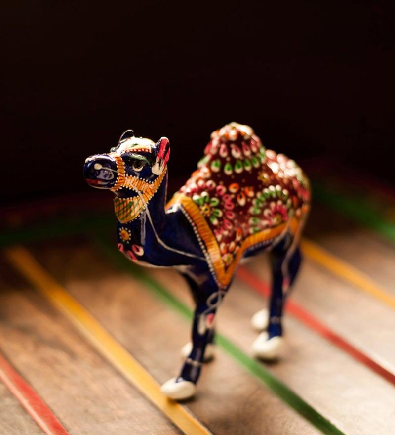 Multicolour Metal Meenakari Royal Blue Camel In Enamelled Showpiece by ExclusiveLane