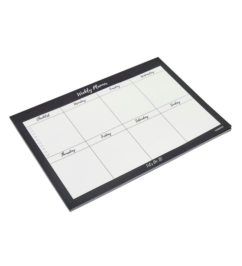 Black & White Paper Lets Do it Weekly Planner Pad by Thinkpot
