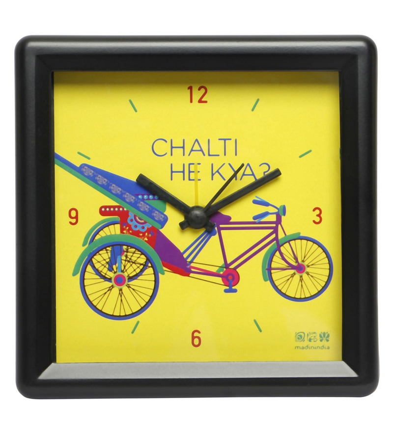 Multicolour Plastic Delhi Cycle Square Table Clock by Mad(e) in India