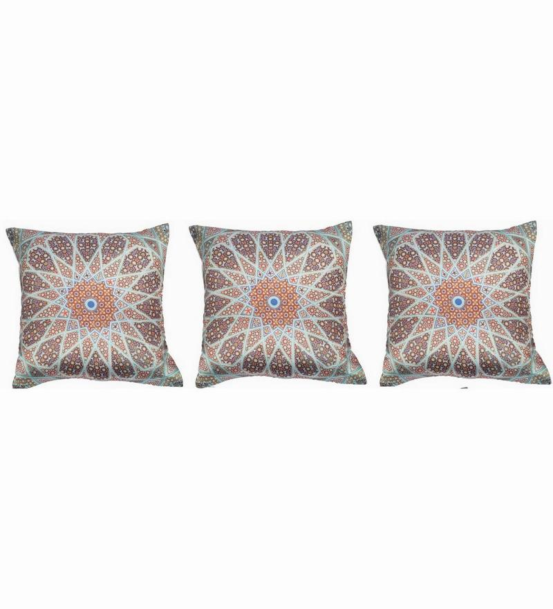 Multicolour Polyester 16x16 Inch Cushion Covers - Set of 3 by Dreamscape