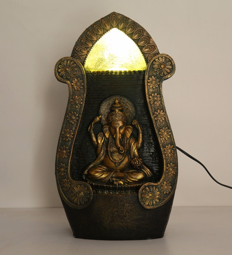 Multicolour Polyresin Ganapati Temple Water Fountain with LED Lights by @Home