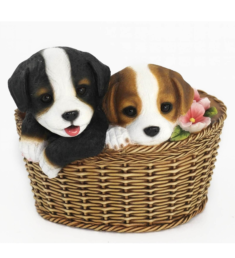 Multicolour Resin Dog Pups Decorative Planter by Wonderland
