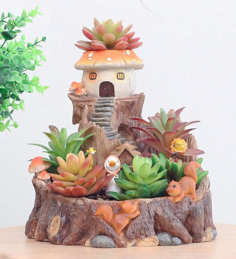Multicolour Resin Fairy-Tale Mushroom Treehouse Succulent Pot By myBageecha