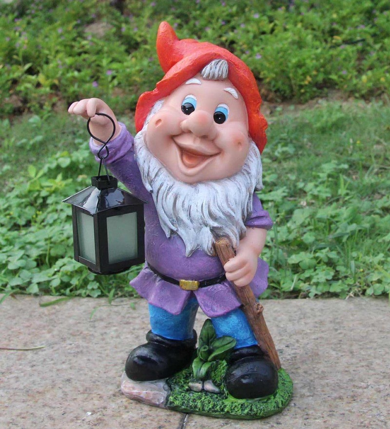 Multicolour Resin Gnome Holding Solar Lamp by Wonderland