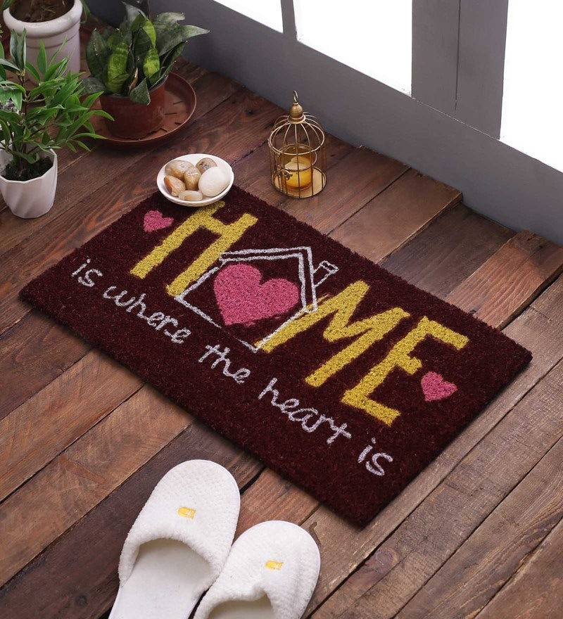 Multicolour Rubberised Coir 14 x 20 Natural Printed Door Door Mat by SWHF