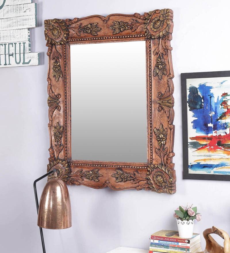 Multicolour Solid Wood Jodhpuri Mirror by Art of Jodhpur