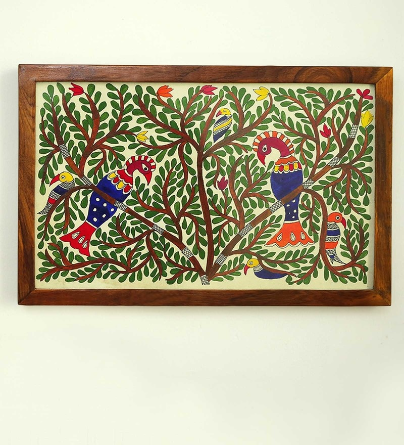 Multicolour Teak Wood Bloom of Life Mithila Hand Painted Painting by ExclusiveLane