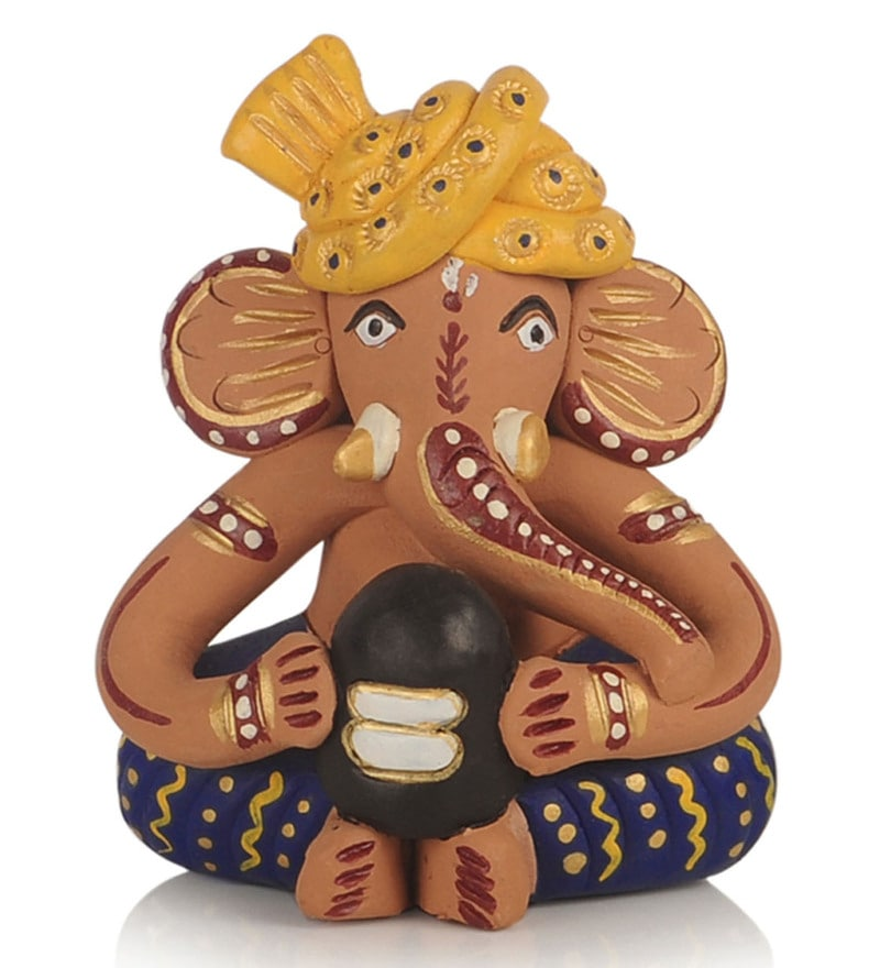 Multicolour Terracotta Musical Ganesha Idol by ExclusiveLane